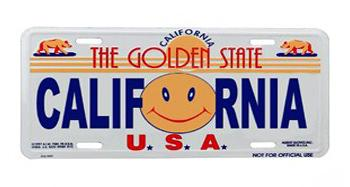 California Sun USA License Plate