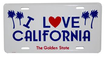 I Love California License Plate