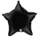 Black Holographic Star Balloon