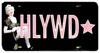Hollywood License Plate with Marilyn Monroe