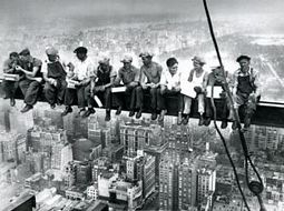 1932 Construction Workers Lunching on a Crossbeam Poster